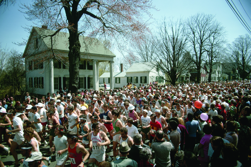 Just after noon, Monday, April 16, 1973: 1,398 runners gather on Hayden Rowe Street, Hopkinton, Massachusetts. If you can spot Y29 amongst that large crowd of folks, that would be me... --- Image by Ted Spiegel/CORBIS