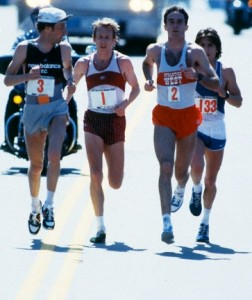 12 Apr 1982, Boston, Massachusetts, USA --- Dick Beardsley, Bill Rodgers and Alberto Salazar in the 1982 Boston Marathon. Salazar won with a time of 2:08:52 and second place Dick Beardsley's was 2:08:54, marking the first time two runners had broken 2:09 in the same race. --- Image by © Steven Sutton/Duomo/Corbis