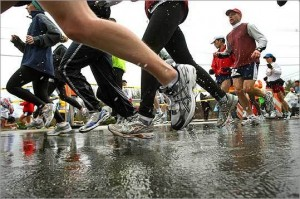 The added burden of wet sneakers and heavy clothes. (Globe-Staff/JohnTlumacki)