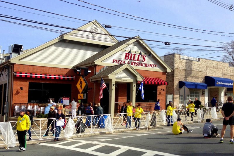 I took this photo of Bill's Pizza the next morning — on Marathon Monday.
