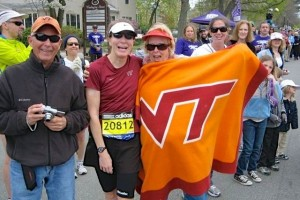 Amongst all the Wellesley, Boston College, Boston University, and Red Sox fans along the race course, I spotted these Hokies and stopped to say hi!