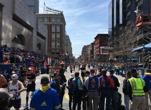 Mission accomplished — looking back on Boylston from under the finish arch