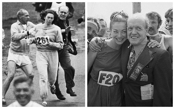 Two sides of Jock Semple, during the 1967 marathon and before the 1973 race.