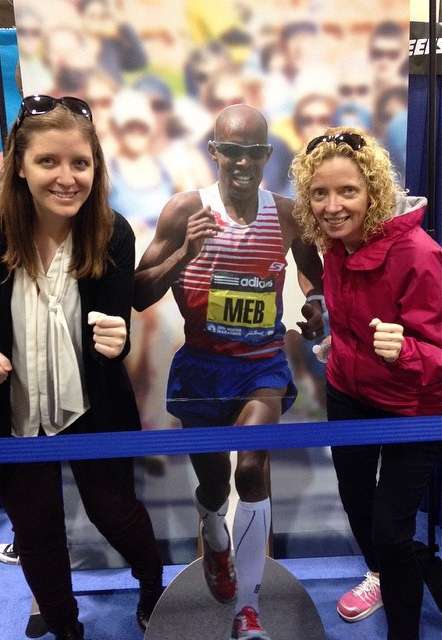 Katie and I giving Meb a run for his money