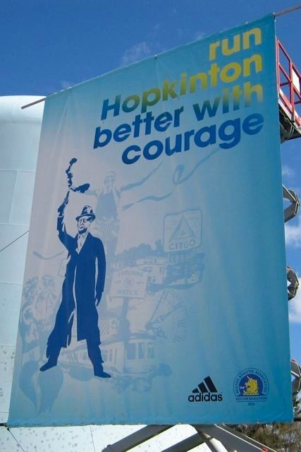 The first of many Adidas banners marking the towns we were running through was Hopkinton, and we saw it before we even started running.