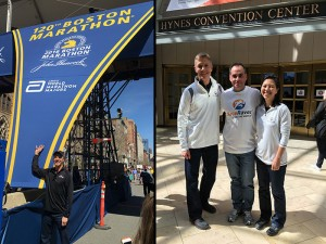 (Left) Go fo(u)rth & conquer: Boston was also World Marathon Major #4; (Right) Fellow Antarctica finisher & French RaceRaves evangelist Didier notched his 5th WMM in Boston