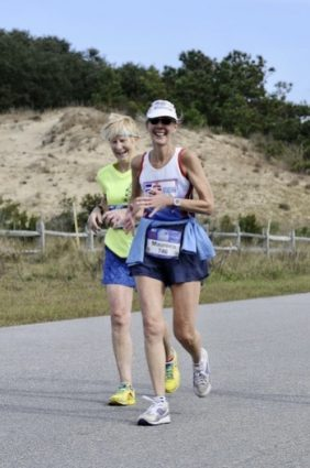 Running lockstep with Maureen Knepp on the Outer Banks.